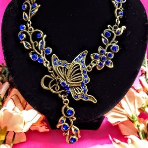Royal Blue Crystal Butterfly Necklace